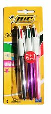 Bic Shine Retractable Ballpoint Pen Blister Pack of 3 Assorted Colours