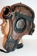WWII Handmade Genuine Leather Pilot,Aviator,Motorcycle Helmet Hat Cap XXL size