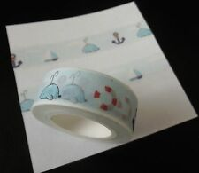 BLUE, WHALE, OCEAN, SEA THEMED WASHI TAPE 10 METERS