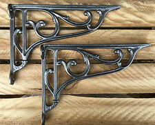 "Pair Pewter 10"" ANTIQUE HEAVY CAST IRON VICTORIAN SHELF WALL BRACKETS - BR27px2"