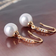 18K gold filled Fashion Vintage lady pearl& crystal lady dangle earring