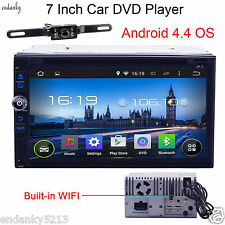 """Android4.4 7"""" Double Din 3G-Wifi Car GPS Nav DVD Player Indash Radio+CAMERA"""