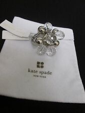 KATE SPADE WOMEN VINTAGE GUMDROPS COCKTAIL SILVER CLEAR BEAD RING S 6-8 NWT