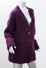 CHANEL Womens Purple Cashmere MULTI-Knit Oversized Sweater Jacket Cardigan 38
