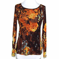Vivienne Tam Wild Virtual Reality Flowers Mesh Stretch Top Sz Medium