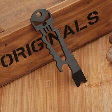 Bottle Opener Wrench Keychain Black Skull EDC Multi Tool Outdoor Survival Hiking