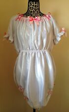 White Lockable Sissy ABDL Adult Baby Satin Open Crotch Romper