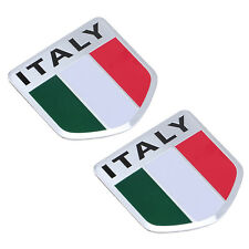 2x Aluminum  Italy Italian Flag Car Auto Bike Chrome Emblem Decal 3D Sticker