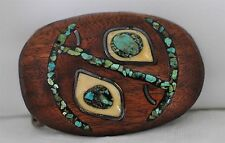 Wooden Belt Buckle w/ Turquoise, Southwest American Indian Design