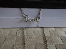 BRAND NEW  SILVER PLATED CHAIN NECKLACE WITH THE WORD LOVE & PEARLY BEAD
