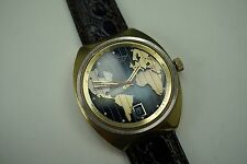 LUCIEN PICCARD SEASHARK WORLD TIME AUTOMATIC 1960-70'S UNUSUAL COOL LOOK BUY NOW