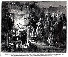 GRAVURE DE 1873  --  NOEL  VIEILLES COUTUMES DE LA TOURAINE  BUCHE   3L743