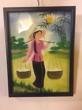 Painting Chinese Acrylic On Board Framed Behind glass.C9pix4Size/etc. MAKE OFFER