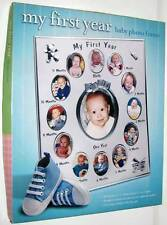 NEW! MY FIRST YEAR BABY PHOTO FRAME Gift Infant Newborn Silver Picture Holder