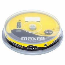 10 Maxell CD-RW 80Min 4X 700MB CD-ReWritable Spindle/Cake Box 624039
