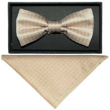 Handmade Champagne And White Polka Dot Mens Dickie Bow Tie and Handkerchief Set