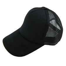 Unisex Casual Hat Solid Baseball Cap Trucker Mesh Blank Visor Hats Adjustable OK