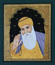 Tanjore Baba Guru Nanak Dev Ji Painting Handmade Indian Sikh Thanjavur Folk Art
