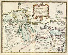 MAP ANTIQUE BELLIN 1755 NEW FRANCE GREAT LAKES LARGE REPRO POSTER PRINT PAM0554