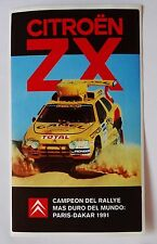 Aufkleber Rallye PARIS-DAKAR 1991 CITROEN ZX Sticker Autocollantl