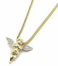"Men 14k Gold Plated Si Stardust Long Wing Angel Pendant Hip-Hop 24"" Franco Chain"