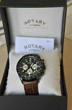 Rotary Gents Brown Leather Strap Black Dial Chronograph Watch GS03908/04 SA5