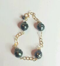 Solid 14k gold 4mm round link bracelet with Black 12mm genuine Tahitian Pearls