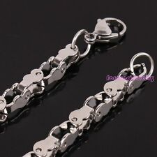 Unique Silver 5mm 316L Stainless Steel Mens Motorcycle Biker Chain Necklace 24""