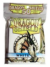 50 PROTECTIVE SLEEVES White Bianco MTG MAGIC Dragon Shield