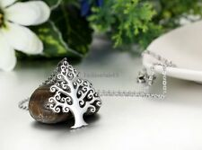 Stainless Steel Chain Necklace Silver Tone Tree Of Life Pendant Women's Ladies