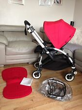 Bugaboo Bee Plus Unisex Pram Black With Red Hood Raincover & Seat Liner