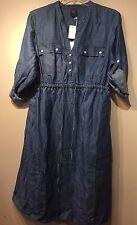 NWT Gap Maternity Double Tencel utility dress, Medium Chambray SIZE S  #213537