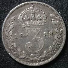 1898 Silver 3 Pence Great Britain Uk Coin Vf