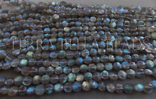 "12"" strand SPECTROLITE LABRADORITE faceted gem stone coin beads 6mm multicolor"