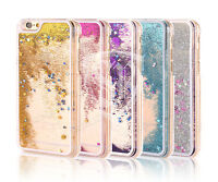 Clear Diamond Glitter Bling Case Transparent Liquid Hard Cover For Apple Samsung