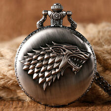 Game of Thrones Wolf Necklace Antique Style Quartz Retro Pocket Watch Mens Gift