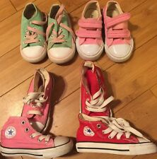 LOT OF 3 CONVERSE ALL STAR INFANT/TODDLER GIRL LOW High TOP SHOES SIZE 6