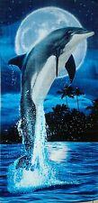 """DOLPHIN AGAINST THE BLUE MOON VELOUR BEACH TOWEL 28"""" X 58"""" REFLECTIVE"""