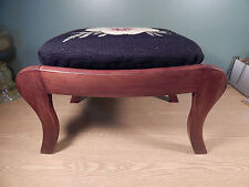 VINTAGE CHERRY FOOTSTOOL WITH PANSY NEEDLEPOINT TOP