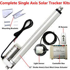 """1KW Solar Tracker Tracking Complete Kits-12"""" Linear Actuator &Controller &Remote"""