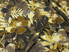 """4 Metres Brown Jungle Retro Floral dress fabric. 58"""" Wide."""