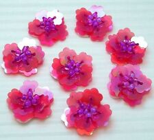 "5/8"" Cute Flower Sequin Bead Sewing Applique x 20 Hot Pink"