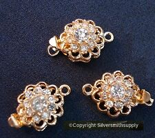 Hi end 3 crystal rhinestone 20mm yellow gold plated 1 strand pad clasps fpc321