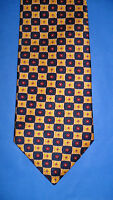 CAVENAGH SILK TIE GOLD/NAVY/RED GEOMETRIC DESIGN -  MADE IN THE UK