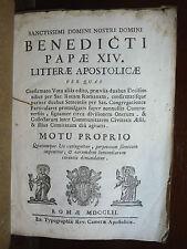 PAPA BENEDETTO XIV MOTU PROPRIO - ROMA 1752  LETTERA APOSTOLICA INCISIONI