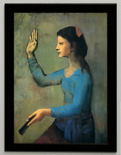 Pablo Picasso Woman with a Fan, canvas print, framed, giclee 8.3X12
