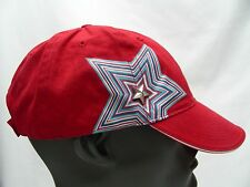 RED WITH STAR - ONE SIZE - ADJUSTABLE VELCRO BALL CAP HAT!
