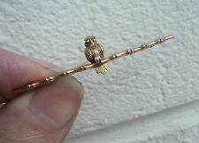 Attractive Vintage  9ct Rose & Yellow Gold Owl Brooch + Emerald Eyes c.1920s