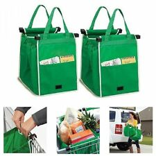 2PCS Portable Grab Bag Shopping Bags Reusable Eco Foldable Trolley Tote Storage