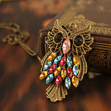 Retro Vintage Colorful Rhinestone Bronze Owl Pendant Necklace Long Chain Jewelry